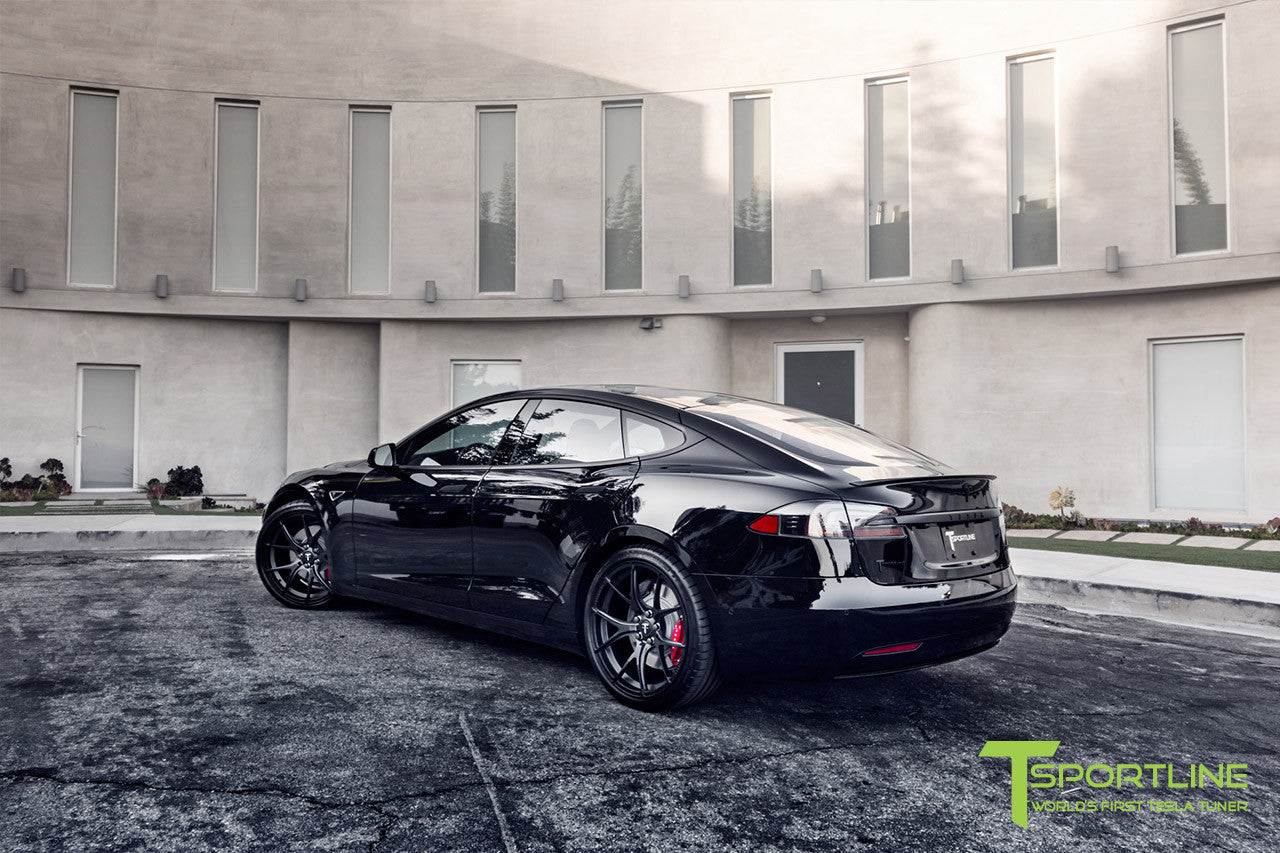 Project Cupertino - 2016 Tesla Model S P90D Ludicrous - Custom Ferrari Rosso Interior - 21 inch TS115 Forged Wheels 2