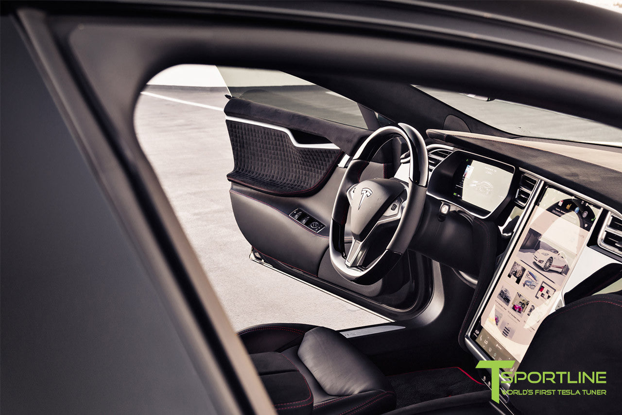 Project V - Model S (2016 Facelift) - Custom Ferrari Black Interior - Piano Black Trim by T Sportline 13