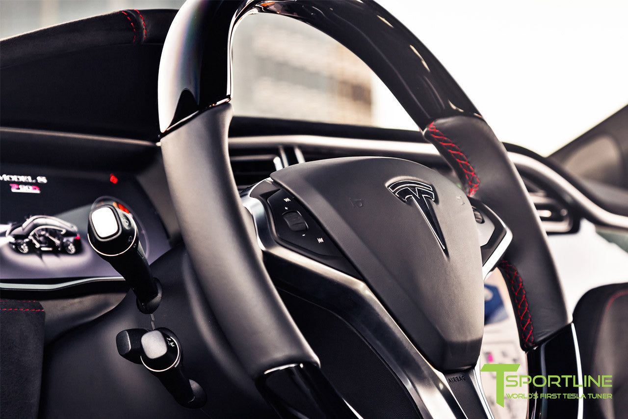 Project V - Model S (2016 Facelift) - Custom Ferrari Black Interior - Piano Black Trim by T Sportline 12