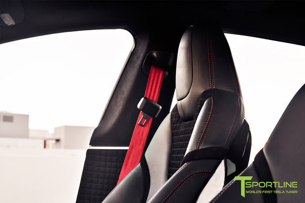 Project V - Model S (2016 Facelift) - Custom Ferrari Black Interior - Piano Black Trim by T Sportline 11