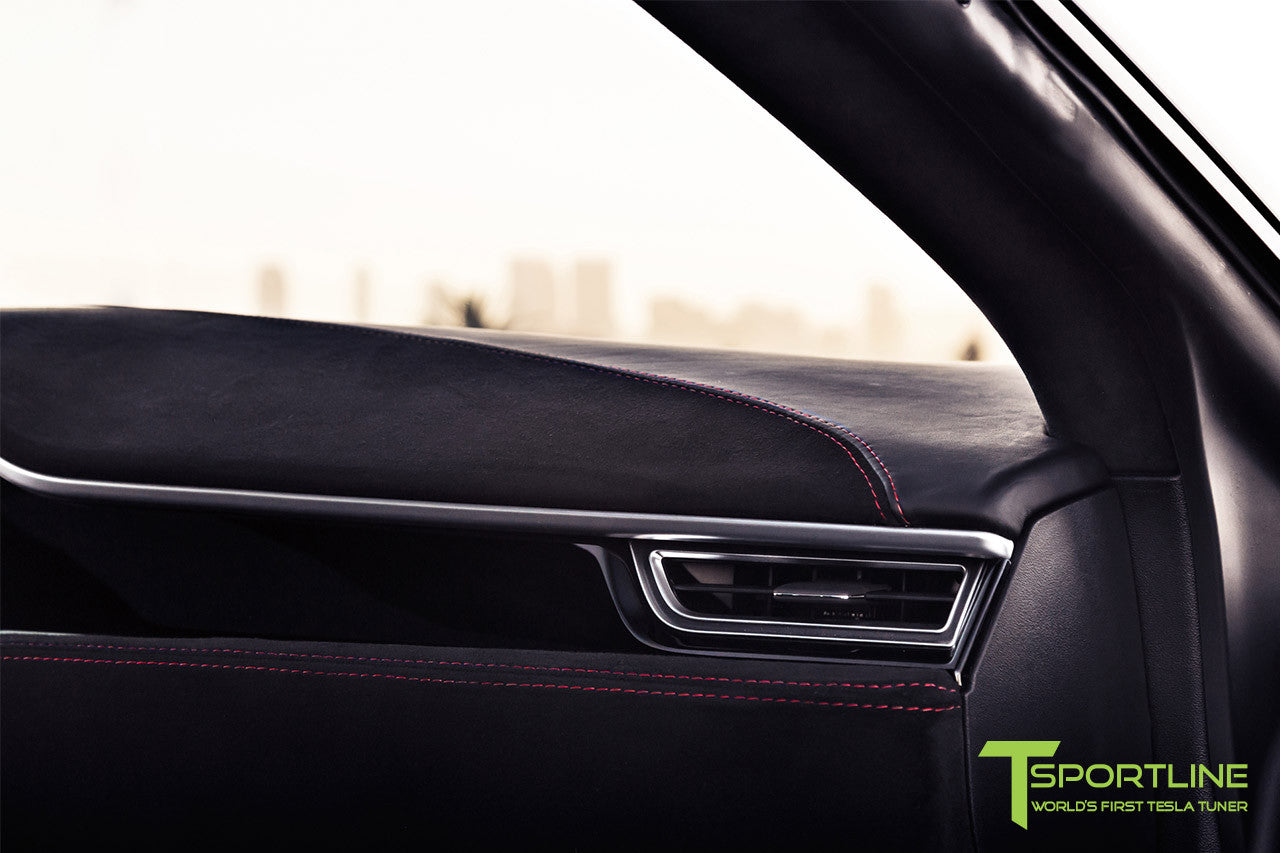 Project V - Model S (2016 Facelift) - Custom Ferrari Black Interior - Piano Black Trim by T Sportline 9