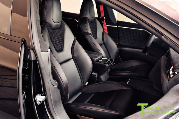 Project V - Model S (2016 Facelift) - Custom Ferrari Black Interior - Piano Black Trim by T Sportline 8