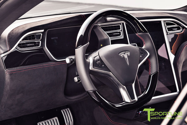 Project V - Model S (2016 Facelift) - Custom Ferrari Black Interior - Piano Black Trim by T Sportline 6