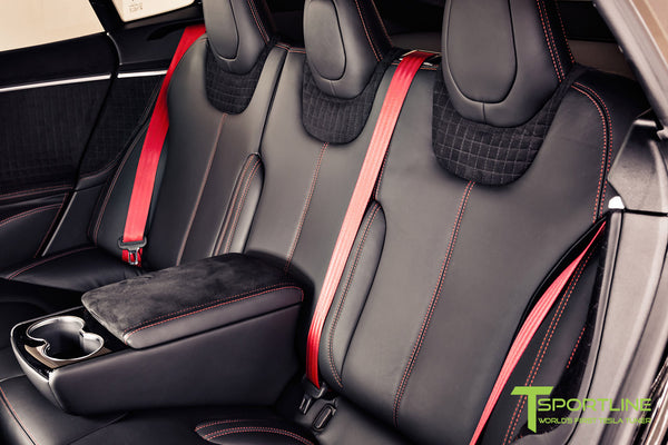 Project V - Model S (2016 Facelift) - Custom Ferrari Black Interior - Piano Black Trim by T Sportline 4