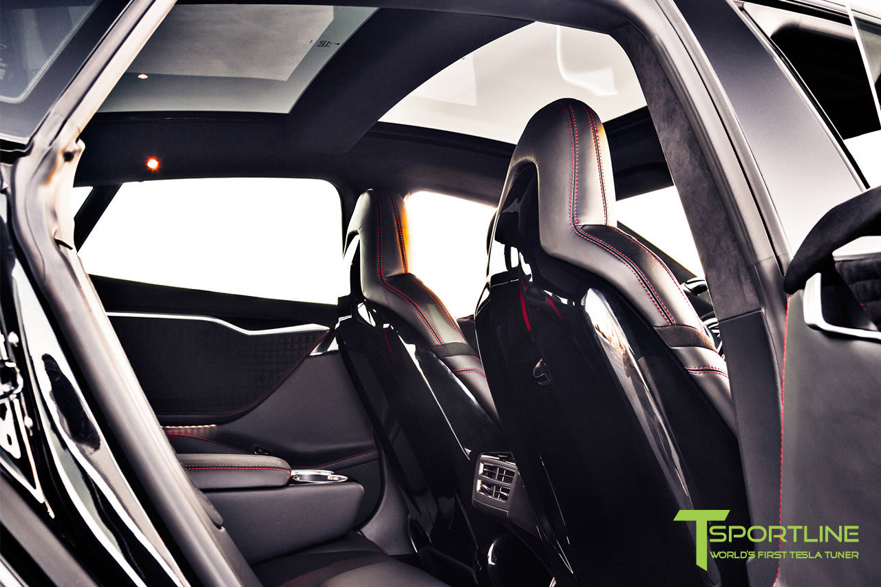 Project V - Model S (2016 Facelift) - Custom Ferrari Black Interior - Piano Black Trim by T Sportline 3