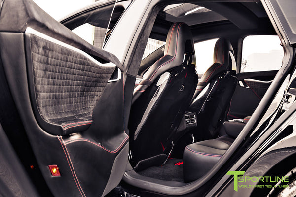 Project V - Model S (2016 Facelift) - Custom Ferrari Black Interior - Piano Black Trim by T Sportline 2