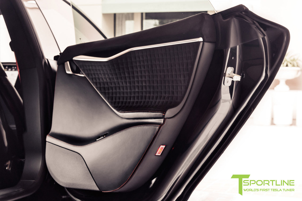 Project V - Model S (2016 Facelift) - Custom Ferrari Black Interior - Piano Black Trim by T Sportline 1