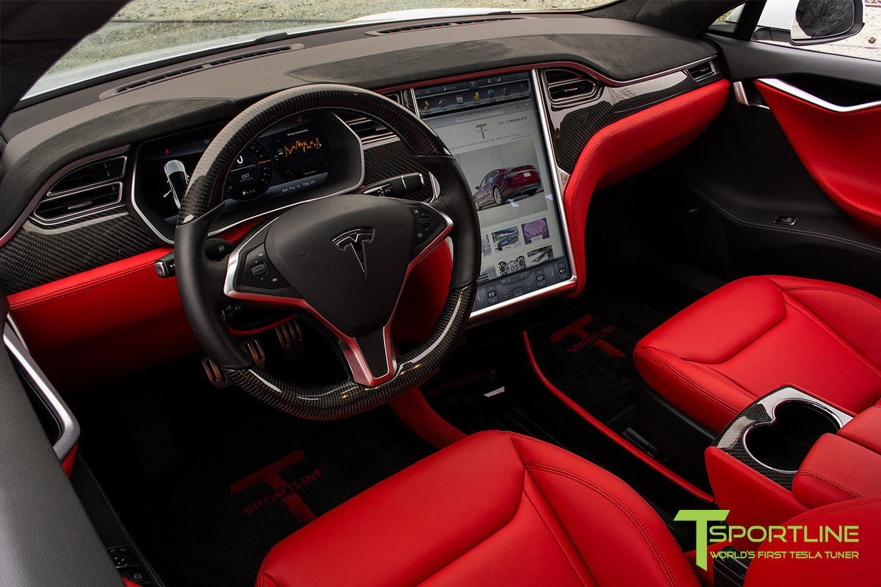 Project TS4 - Tesla Model S P90D - Custom Ferrari Rosso -  Carbon Fiber Dash Kit - Dashboard - Steering Wheel 1
