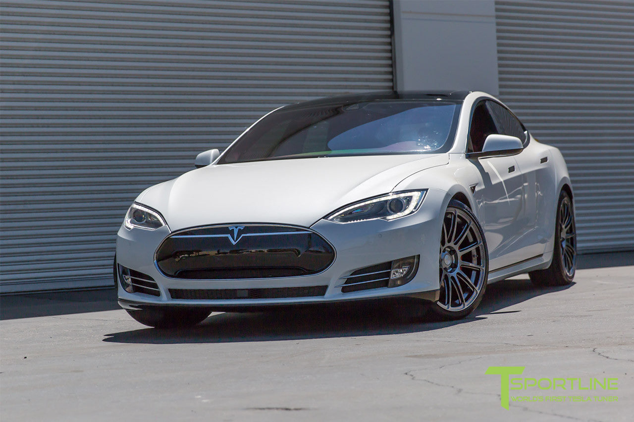 Pearl White Tesla Model S 1.0 with Hyper Black 21 inch TS112 Forged Wheels 1