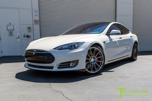 Pearl White Tesla Model S 1.0 with Hyper Black 21 inch TS112 Forged Wheels 2