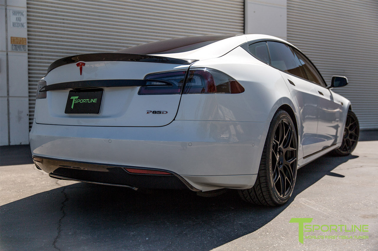 Pearl White Tesla Model S 1.0 with Matte Black 21 inch TS117 Forged Wheels 1