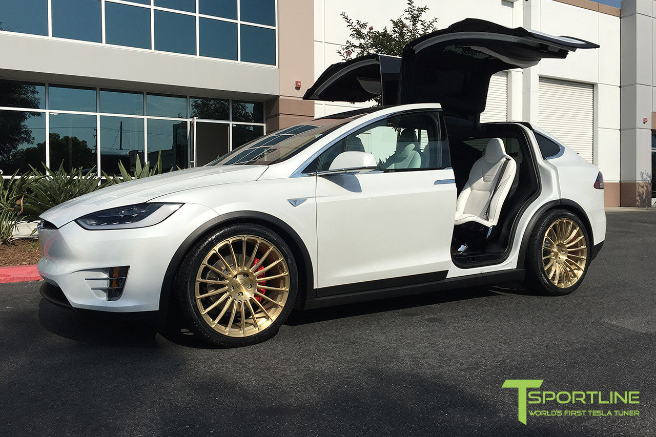 Pearl White Tesla Model X with Ghost Gold 22 inch MX118 Forged Wheels
