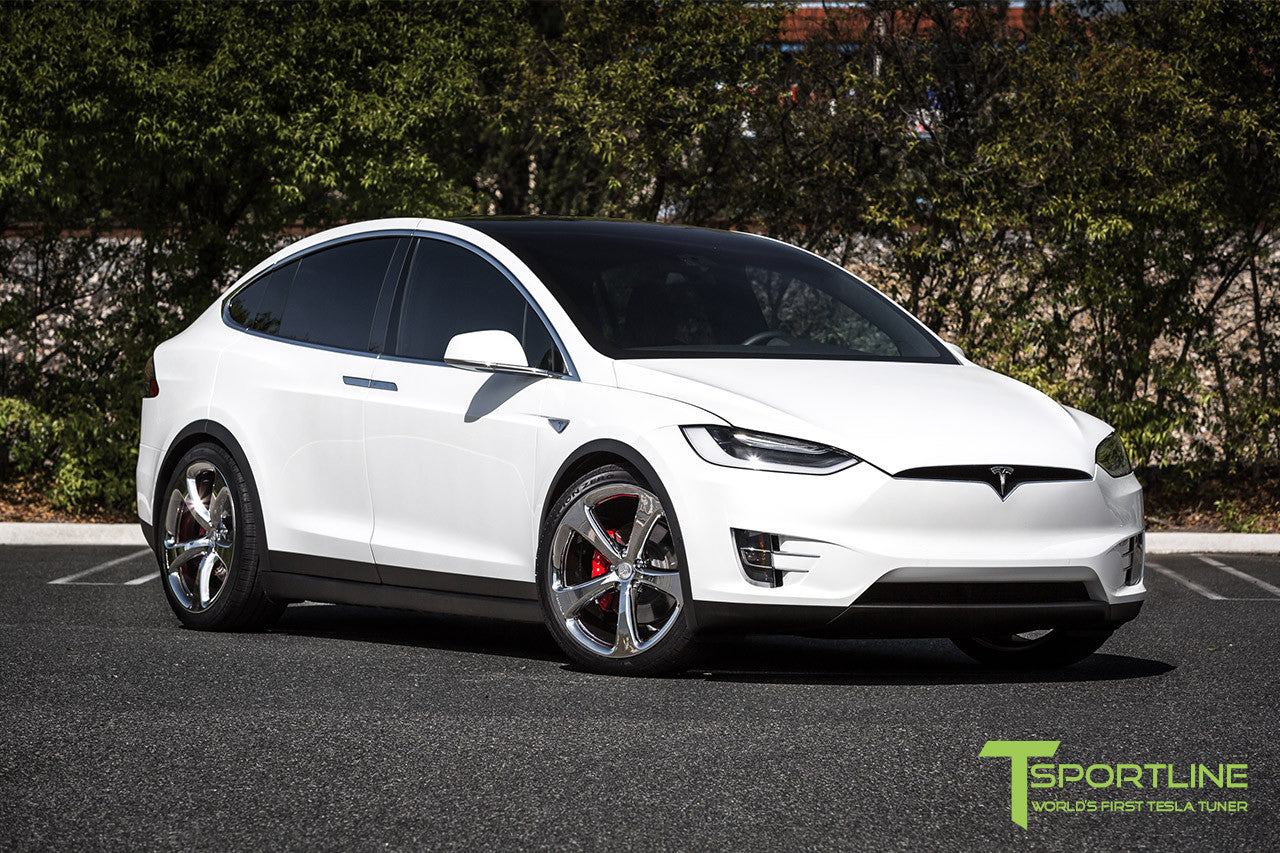 Pearl White Tesla Model X with Chrome 22 inch MX5 Forged Wheels