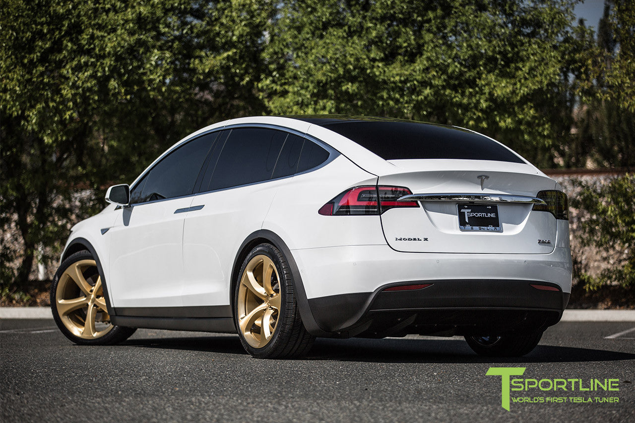 Pearl White Tesla Model X with Ghost Gold 22 inch MX5 Forged Wheels