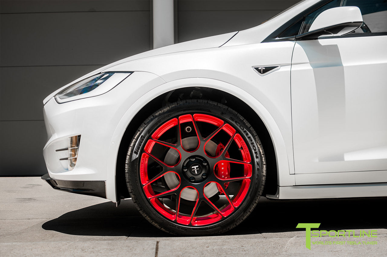 Pearl White Tesla Model X with Imperial Red 22 inch MX117 Forged Wheels by T Sportline