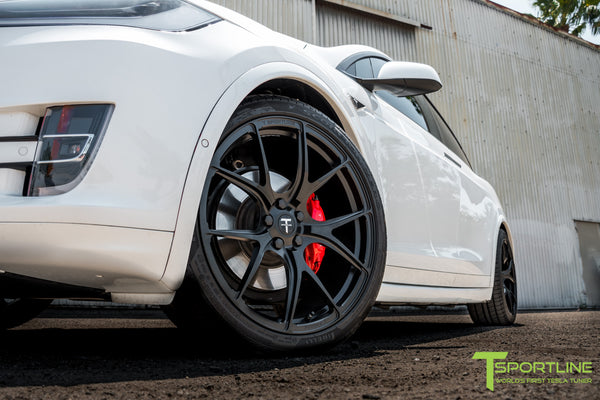Project White Black 2 - 2016 Tesla Model X P100D Ludicrous - Black Interior - 22 inch MX117 Forged Wheels Matte Black - Gloss Carbon Fiber Dashboard by T Sportline 10
