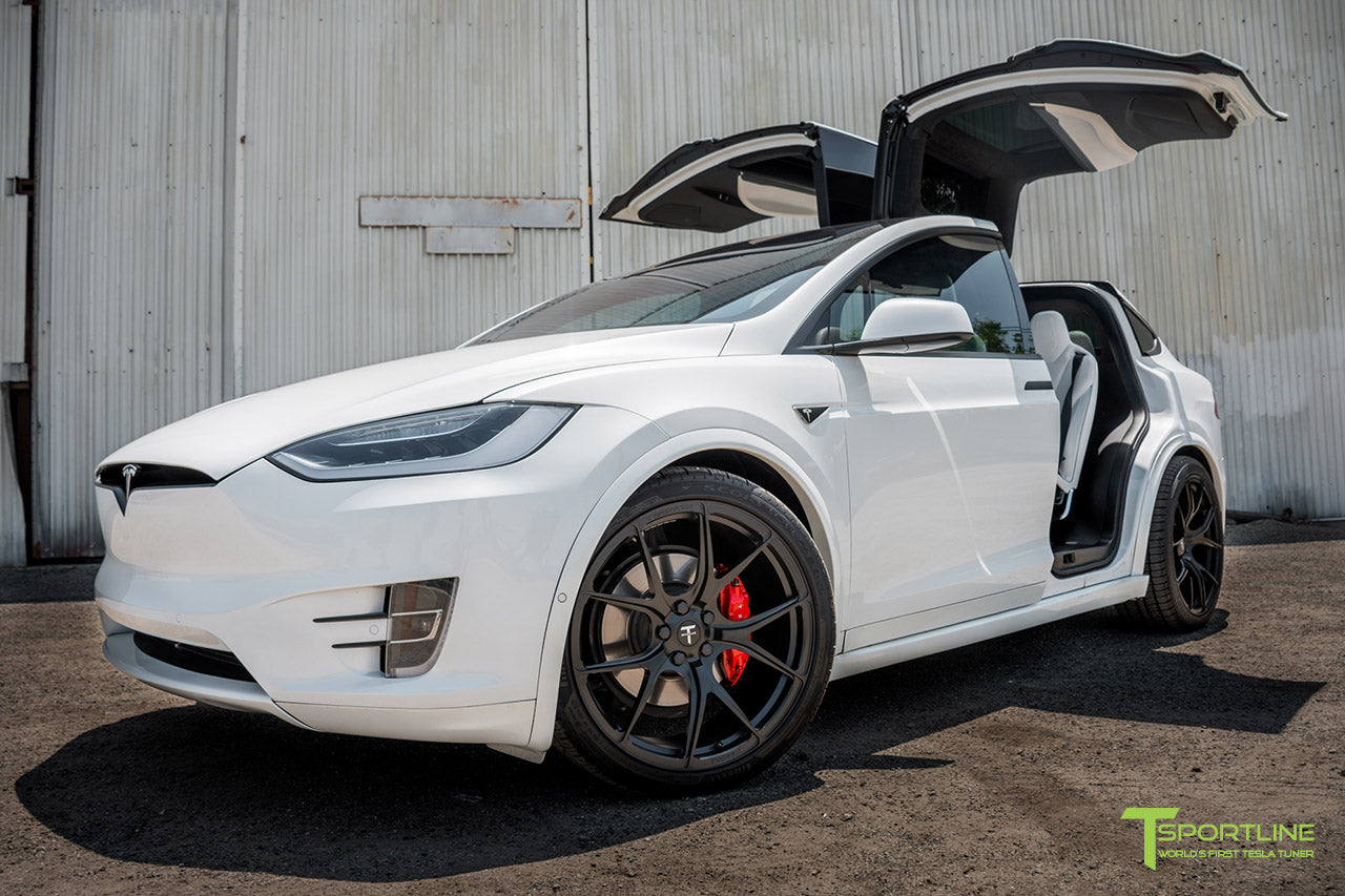 Pearl White 2016 Tesla Model X P90D Ludicrous - White Interior - 22 inch MX115 Forged Wheels Matte Black by T Sportline