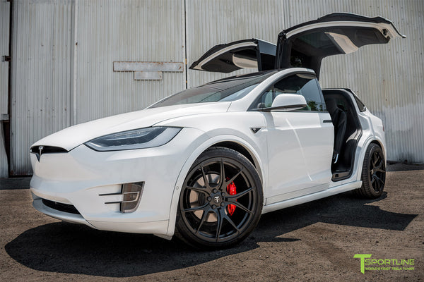 Project White Black 2 - 2016 Tesla Model X P100D Ludicrous - Black Interior - 22 inch MX117 Forged Wheels Matte Black - Gloss Carbon Fiber Dashboard by T Sportline 13