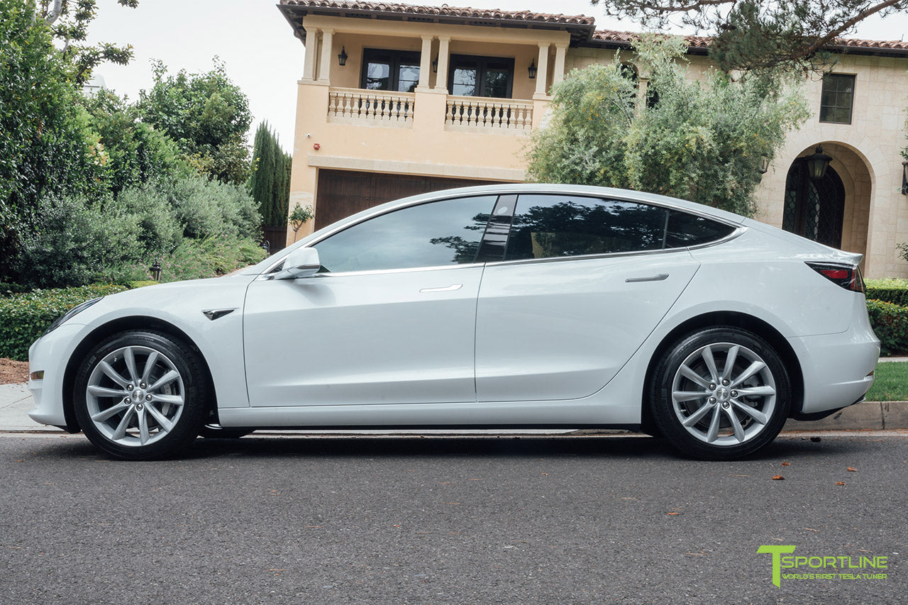 Pearl White Tesla Model 3 with Brilliant Silver 18 inch TST Turbine Style Wheels by T Sportline