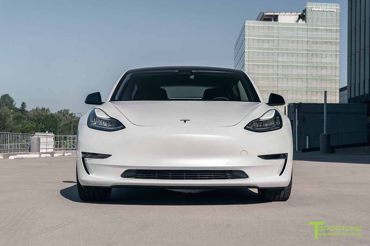 Pearl White Tesla Model 3 with 20 inch Gloss Black Falcon Flow Forged Wheels by T Sportline