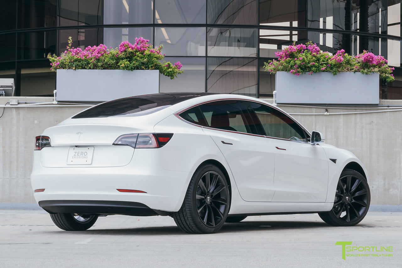 Pearl White Tesla Model 3 with Matte Black 20 inch TST Turbine Style Wheels by T Sportline
