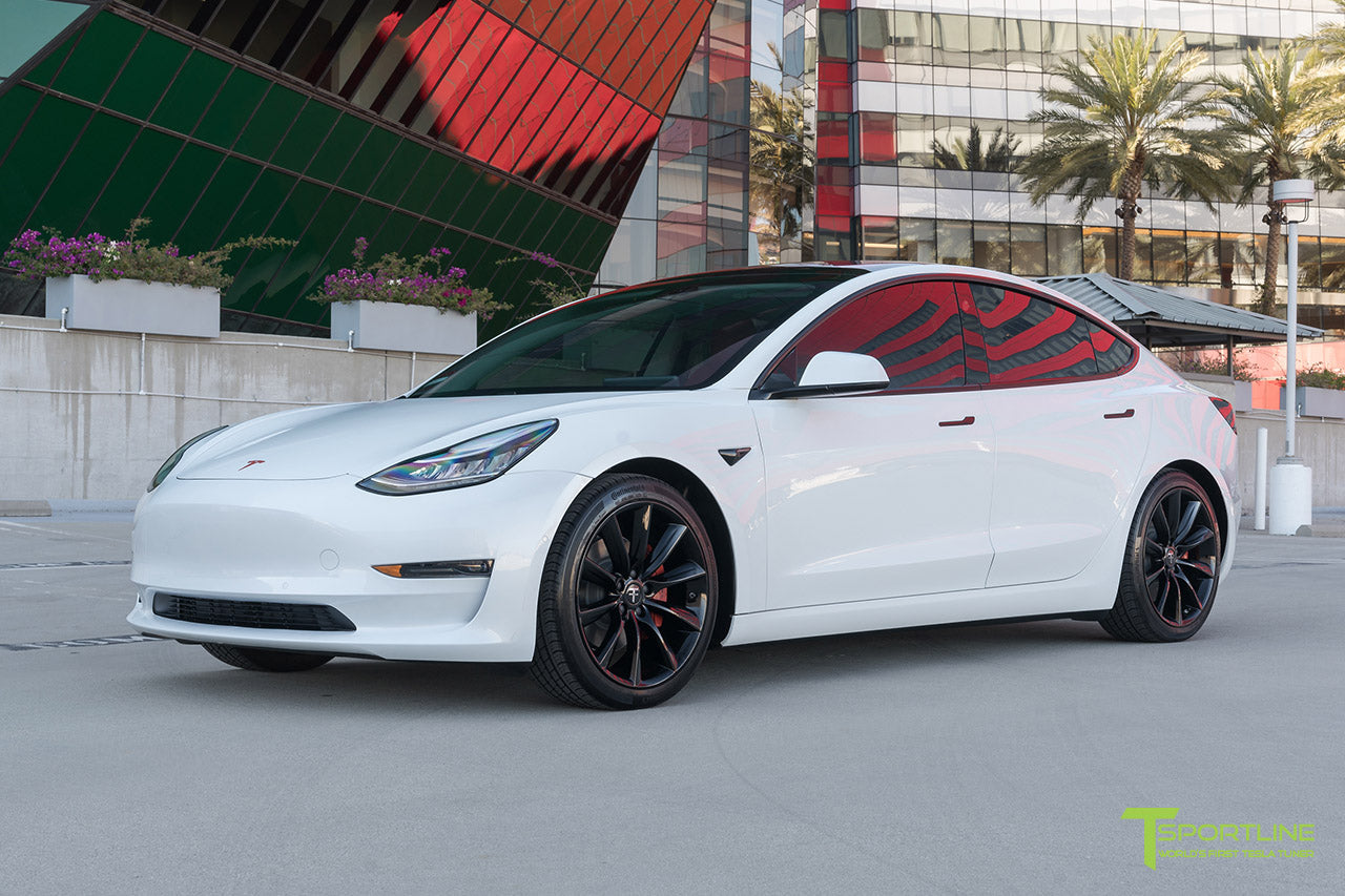 Pearl White Tesla Model 3 with Lowering Springs and 19 Inch TST Turbine Style Wheels by T Sportline 2