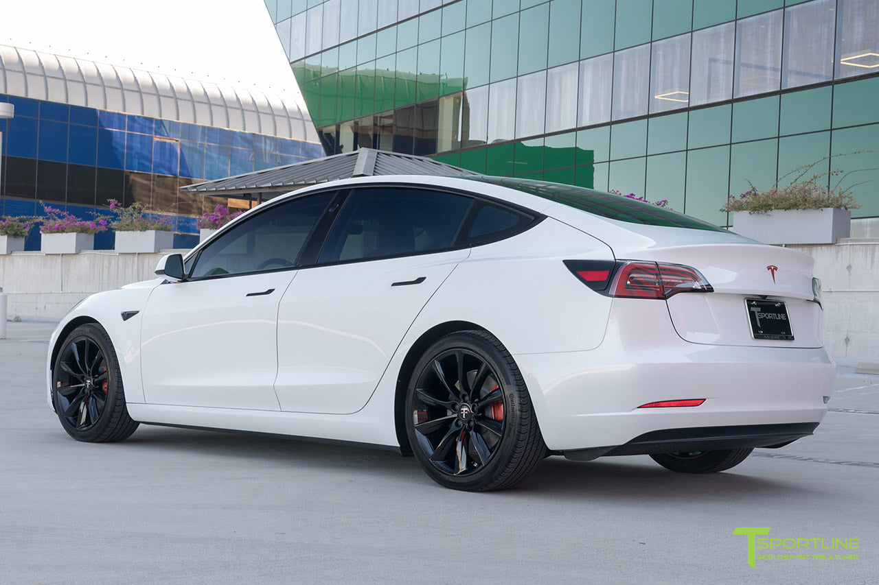 Pearl White Tesla Model 3 with Lowering Springs and 19 Inch TST Turbine Style Wheels by T Sportline 1