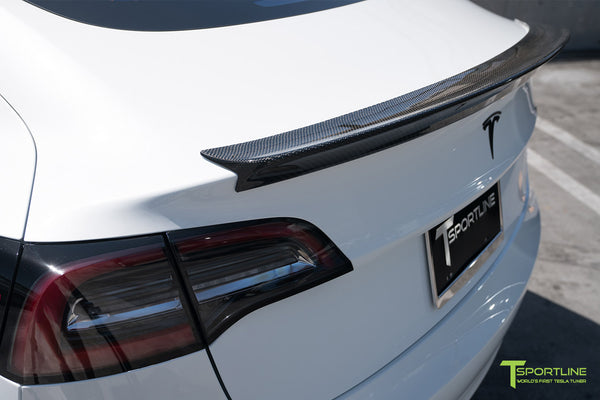 Pearl White Tesla Model 3 with Gloss Carbon Fiber Trunk Wing Spoiler by T Sportline 4