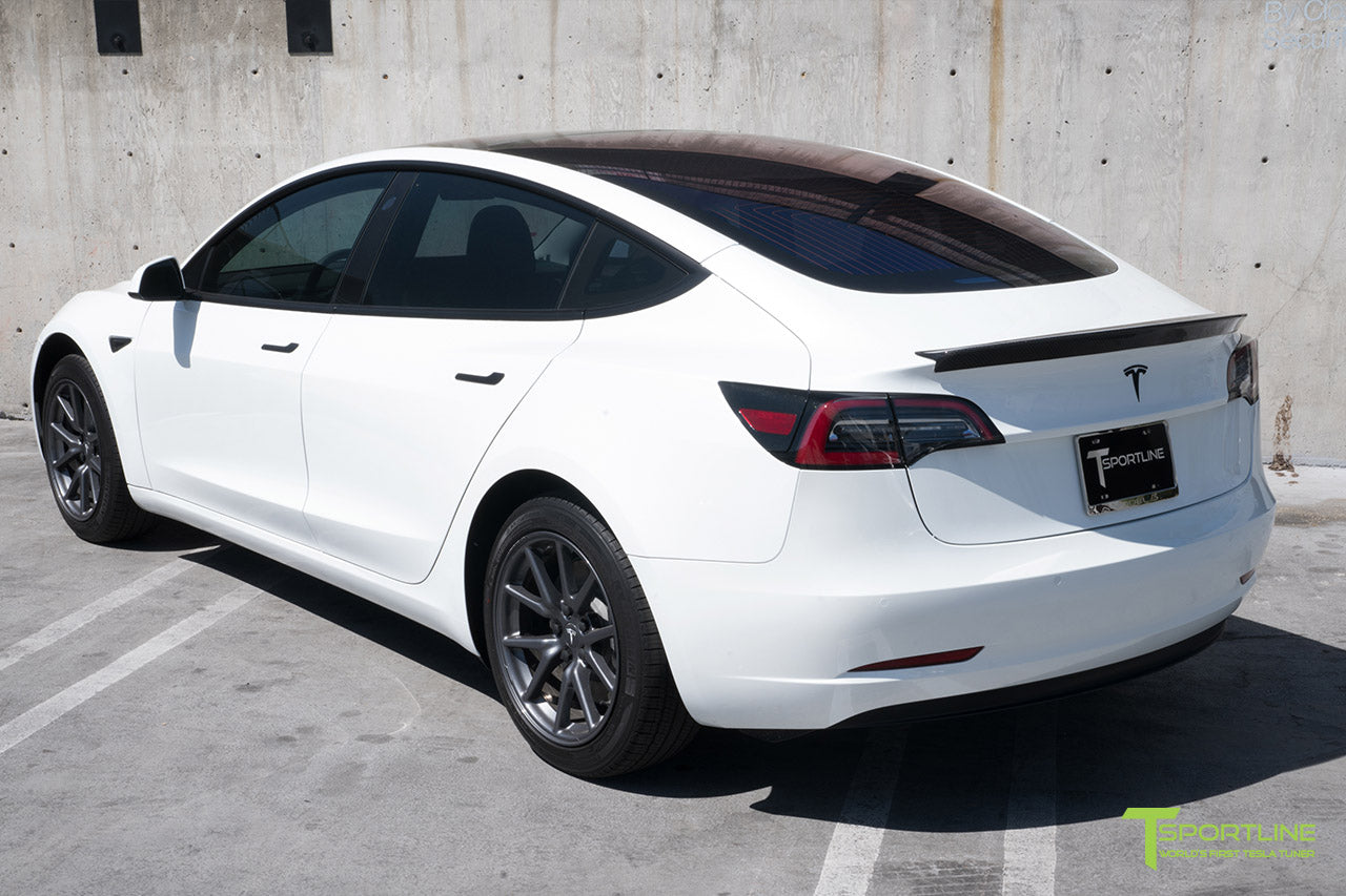 Pearl White Tesla Model 3 with Gloss Carbon Fiber Trunk Wing Spoiler by T Sportline