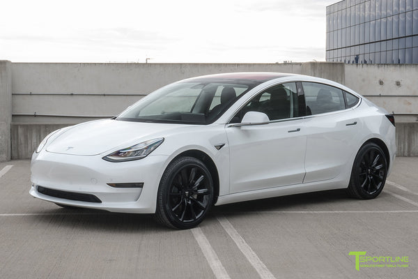 Pearl White Tesla Model 3 with Gloss Black 19 inch TST Tesla Wheel by T Sportline 5