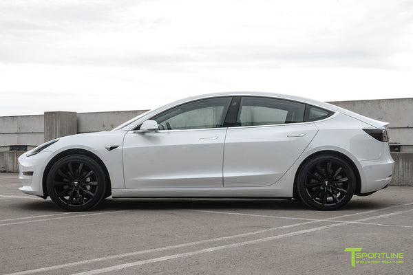 Pearl White Tesla Model 3 with Gloss Black 19 inch TST Tesla Wheel by T Sportline 4