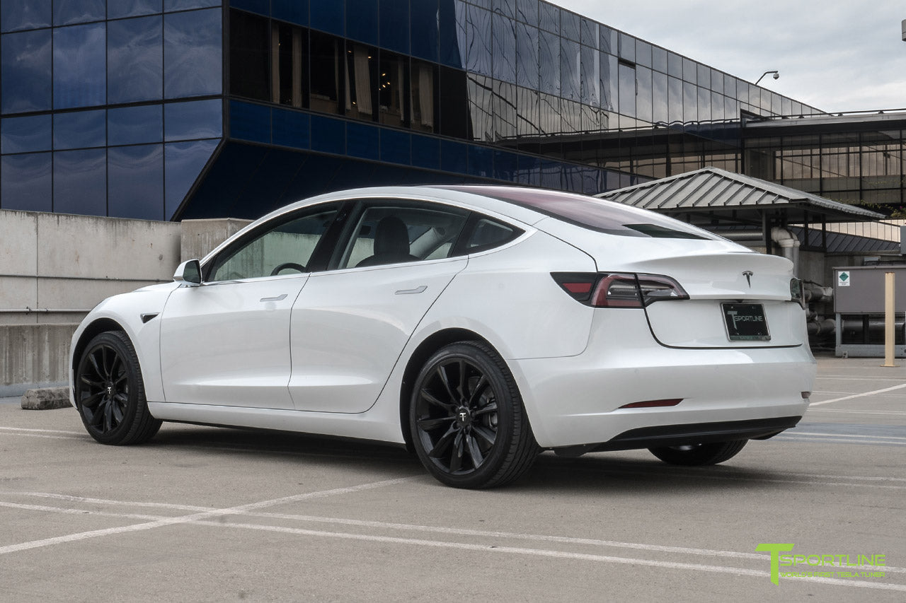 Pearl White Tesla Model 3 with Gloss Black 19 inch TST Tesla Wheel by T Sportline 3