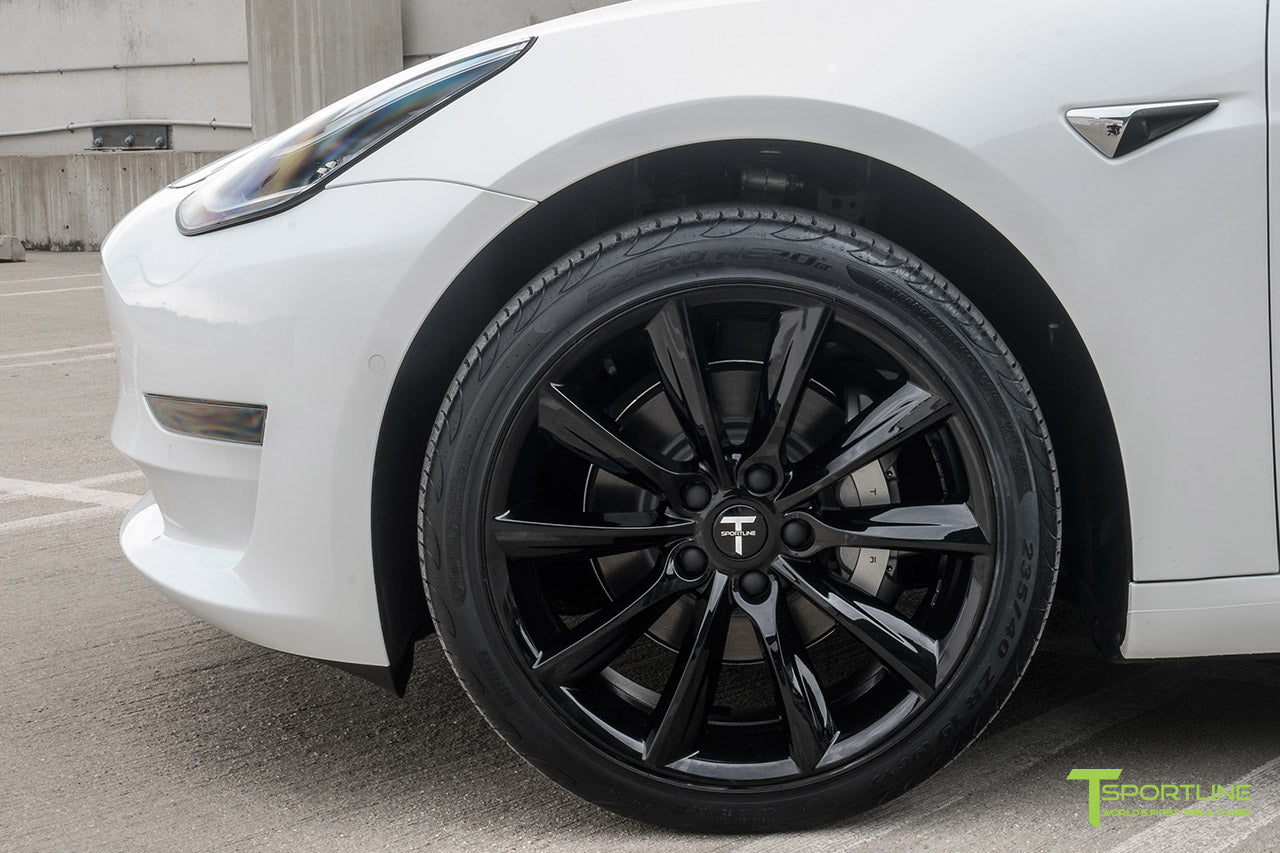 Pearl White Tesla Model 3 with Gloss Black 19 inch TST Tesla Wheel by T Sportline