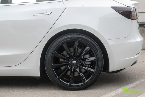 Pearl White Tesla Model 3 with Gloss Black 19 inch TST Tesla Wheel by T Sportline 1