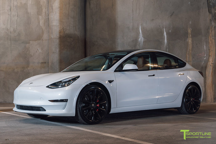 Pearl White Tesla Model 3 - Custom Peanut Butter Leather Interior