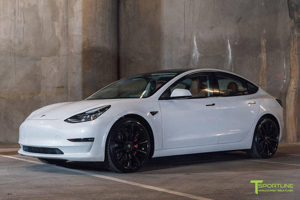 Pearl White Tesla Model 3 - Custom Peanut Butter Interior - Gloss Black 20 Inch Turbine Style TST Wheel - Blacked Out - Chrome Delete - Window Tint - Lug Nut Cover Set by T Sportline 10