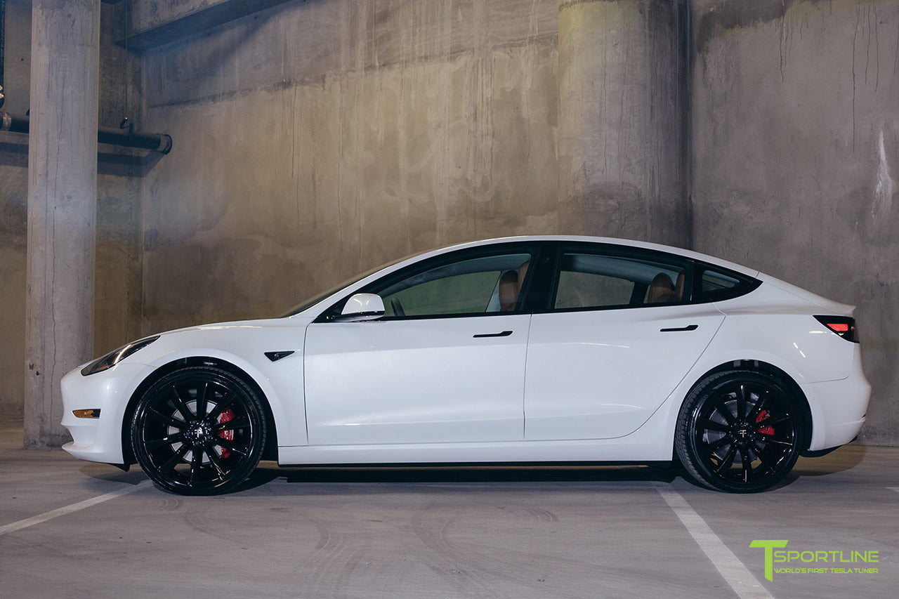 Pearl White Tesla Model 3 - Custom Peanut Butter Interior - Gloss Black 20 Inch Turbine Style TST Wheel - Blacked Out - Chrome Delete - Window Tint - Lug Nut Cover Set by T Sportline 9