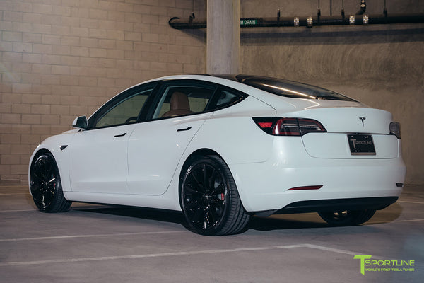 Pearl White Tesla Model 3 - Custom Peanut Butter Interior - Gloss Black 20 Inch Turbine Style TST Wheel - Blacked Out - Chrome Delete - Window Tint - Lug Nut Cover Set by T Sportline 8