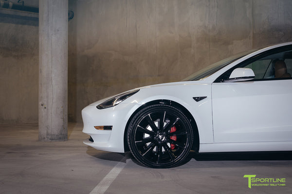 Pearl White Tesla Model 3 - Custom Peanut Butter Interior - Gloss Black 20 Inch Turbine Style TST Wheel - Blacked Out - Chrome Delete - Window Tint - Lug Nut Cover Set by T Sportline 7