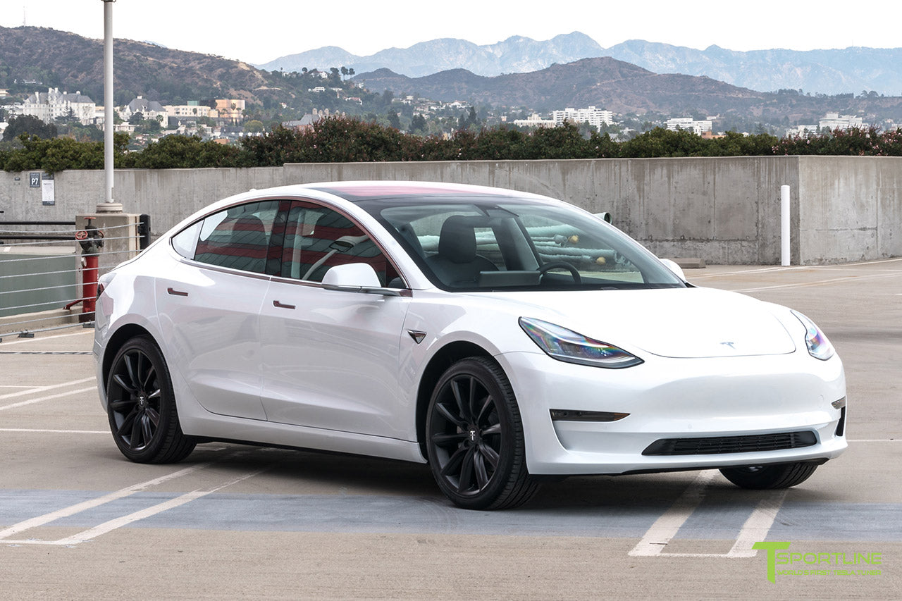 Pearl White Tesla Model 3 with Matte Black 19 inch TST Tesla Wheel by T Sportline 4
