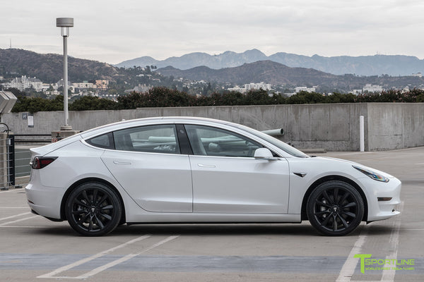 Pearl White Tesla Model 3 with Matte Black 19 inch TST Tesla Wheel by T Sportline 3