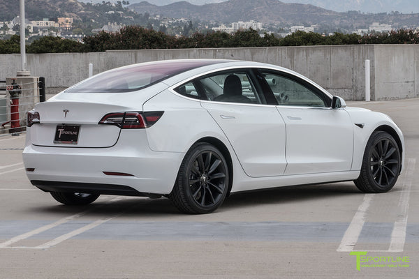 Pearl White Tesla Model 3 with Matte Black 19 inch TST Tesla Wheel by T Sportline 2