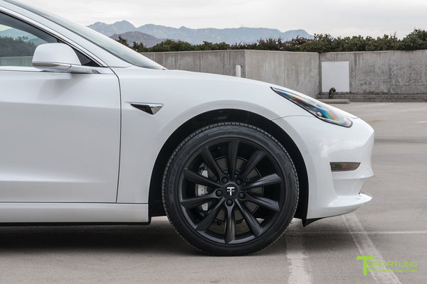 Pearl White Tesla Model 3 with Matte Black 19 inch TST Tesla Wheel by T Sportline 1