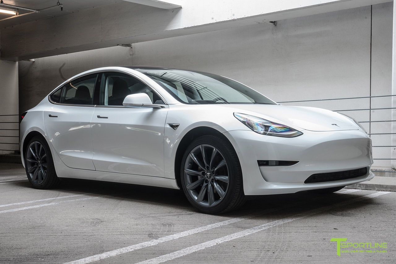 Pearl White Tesla Model 3 with Metallic Gray 19 inch TST Tesla Wheel by T Sportline 6