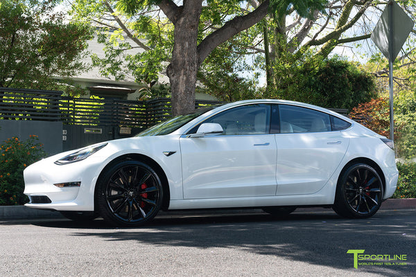 Pearl White Multi-Coat Performance Tesla Model 3 with Gloss Black 20