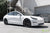 Pearl White Performance Dual Motor Tesla Model 3 with Lowering Springs and Matte Black 20 Inch TST Turbine Style Wheels by T Sportline