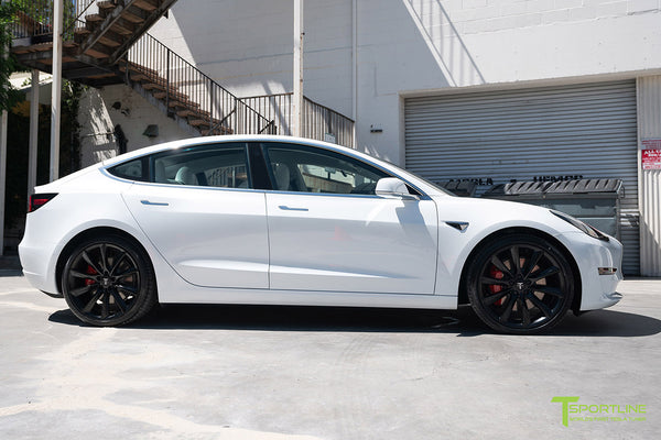 Pearl White Multi-Coat Performance Tesla Model 3 with Matte Black 20