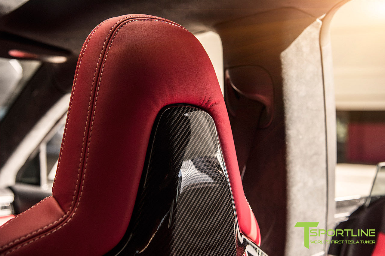 Project TS6 - Tesla Model S P90D - Custom Bentley Red Interior and Carbon Fiber Interior Accessories - Seatbacks - 21 Inch TS115 Forged Wheels in Gloss Black