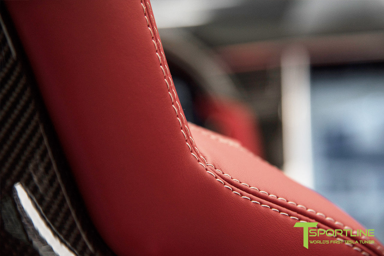 Project TS6 - Model S (2012-2016) - Custom Bentley Red Interior - Gloss Carbon Fiber Trim by T Sportline 8