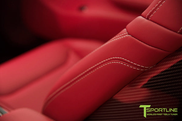 Project TS6 - Model S (2012-2016) - Custom Bentley Red Interior - Gloss Carbon Fiber Trim by T Sportline 7